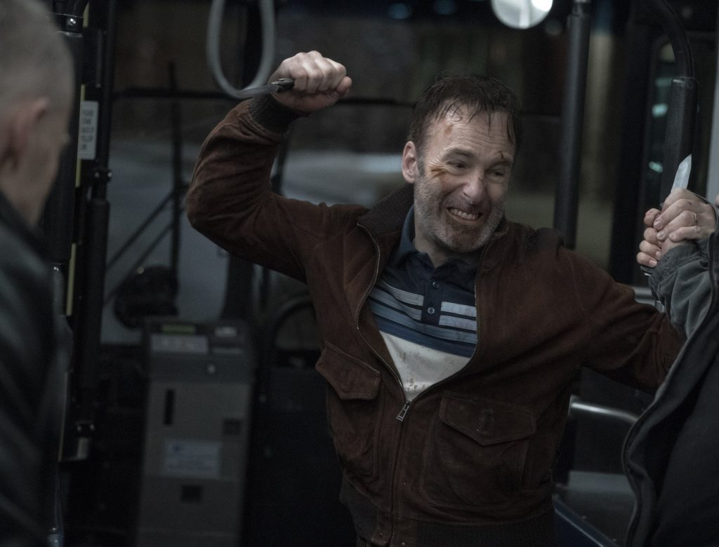 Bob Odenkirk punches Russian gangsters on the bus