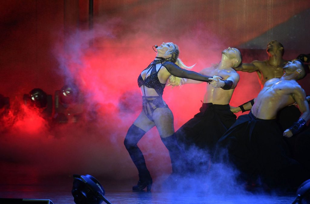 Britney Spears dancing during her Piece of Me Tour