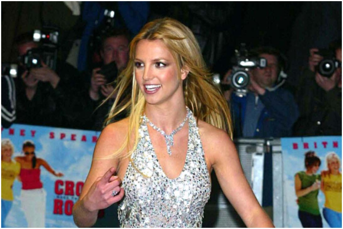 'Crossroads' star Britney Spears in a sparkly dress at the movie's premiere.