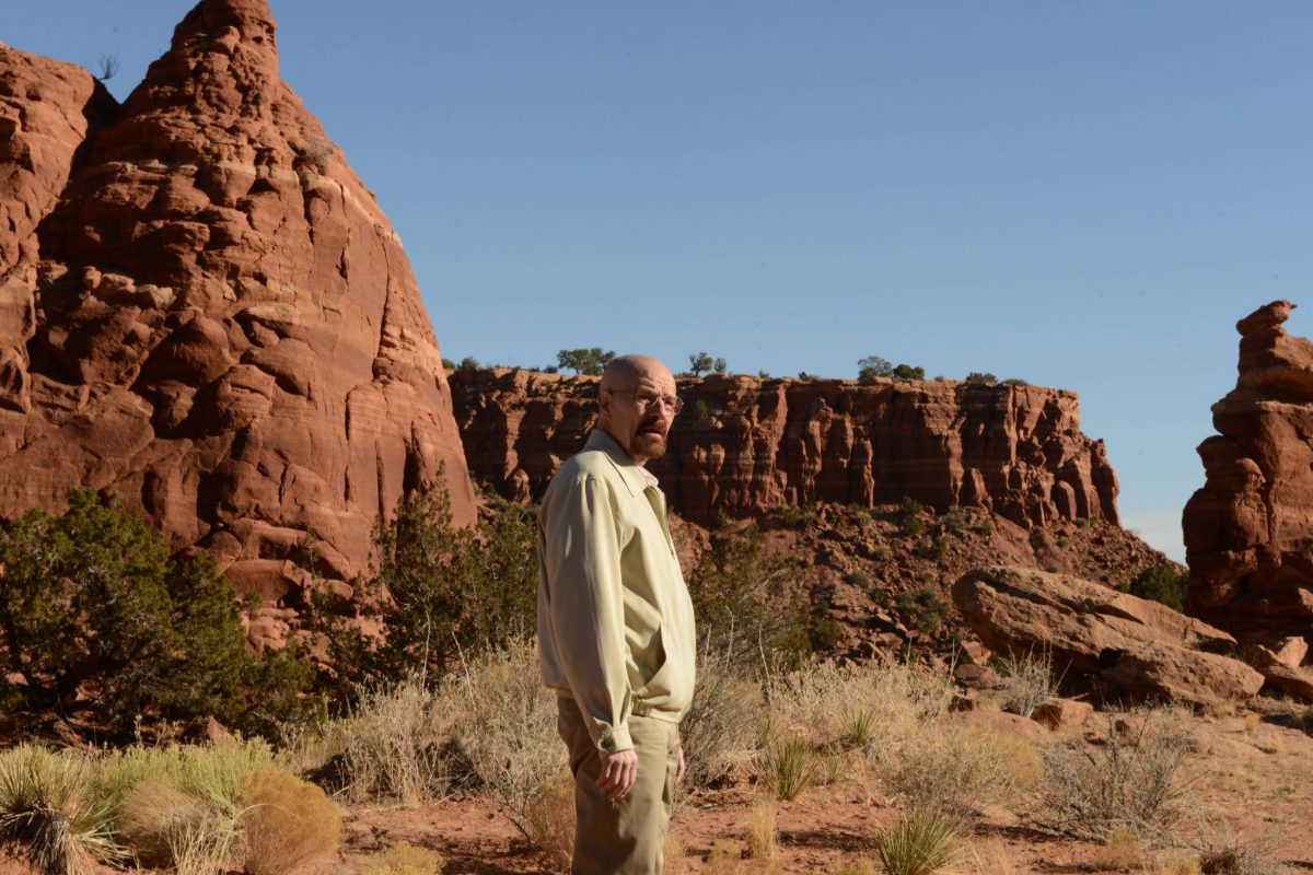 Bryan Cranston stands in the desert looking out.