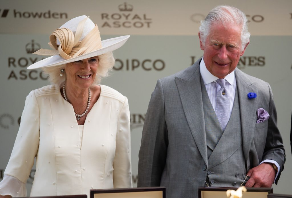 Camilla Parker Bowles and Prince Charles smile as they arrive at Royal Ascot 2021