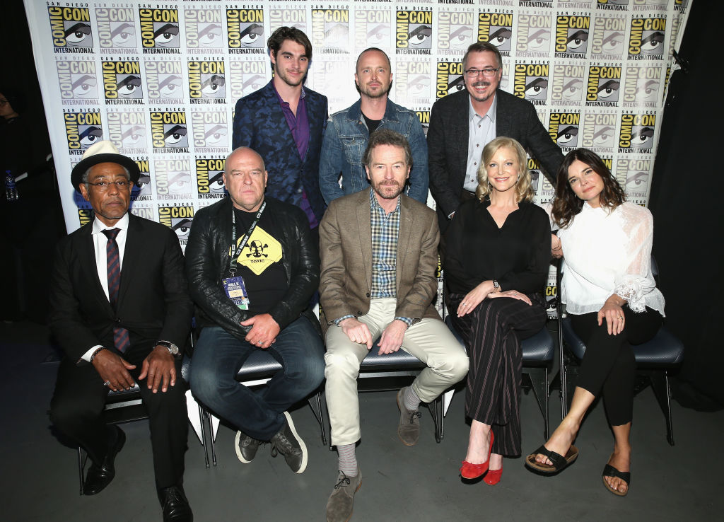 RJ Mitte, Aaron Paul and Vince Gilligan, Giancarlo Esposito, Dean Norris, Bryan Cranston, Anna Gunn, and Betsy Brandt attend the 'Breaking Bad' 10th Anniversary Reunion panel at Comic-Con.