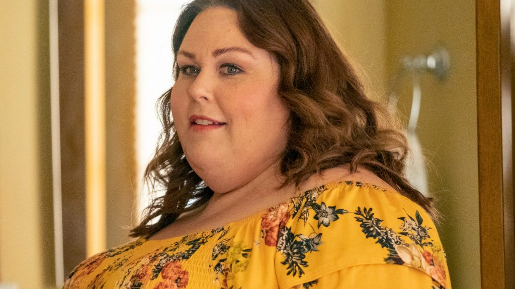 Chrissy Metz as Kate Pearson looking at Toby in 'This Is Us' Season 5 Episode 16.