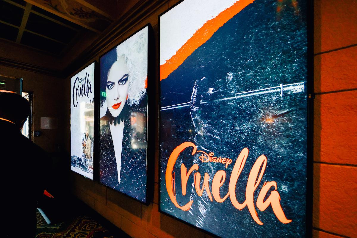 The 'Cruella' poster display at the El Capitan Theatre