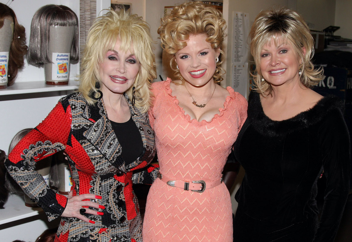 Dolly Parton, Megan Hilty, and Rachel Parton Dennison (the film, stage and TV Doralee's) pose backstage at the Broadway musical '9 to 5'