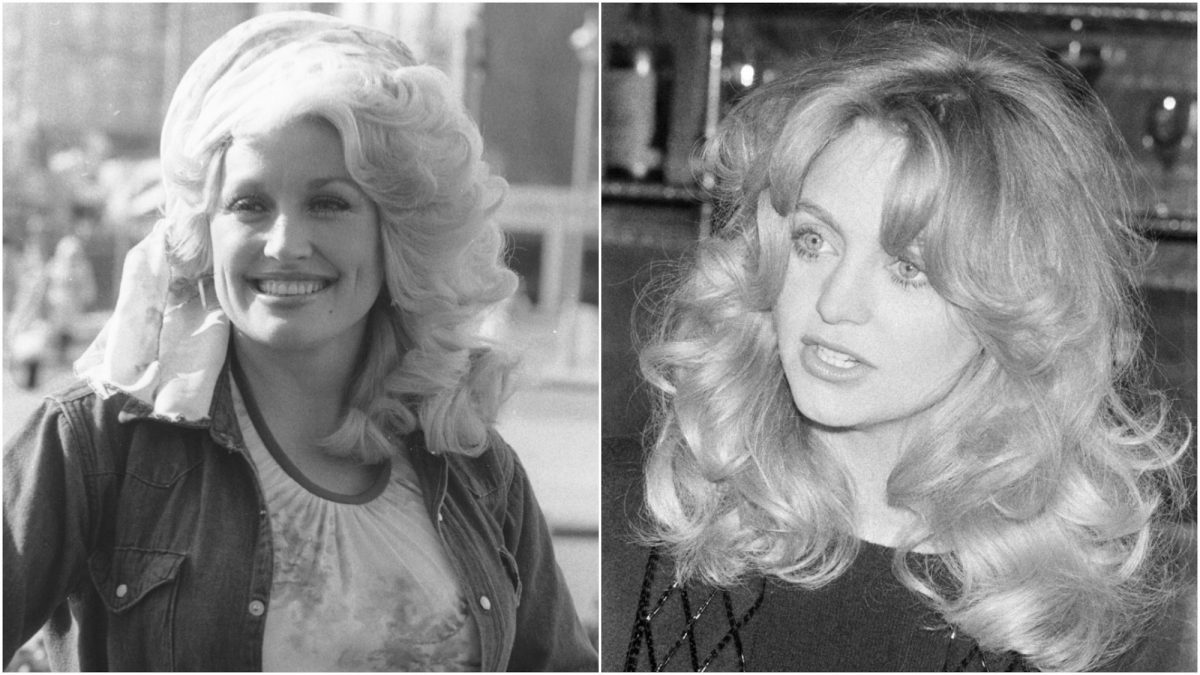 A collage image of singer Dolly Parton and actor Goldie Hawn