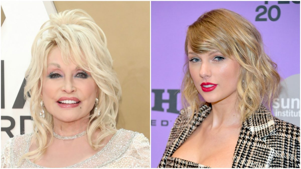 A portrait of Dolly Parton on the red carpet next to a portrait of Taylor Swift on the red carpet.