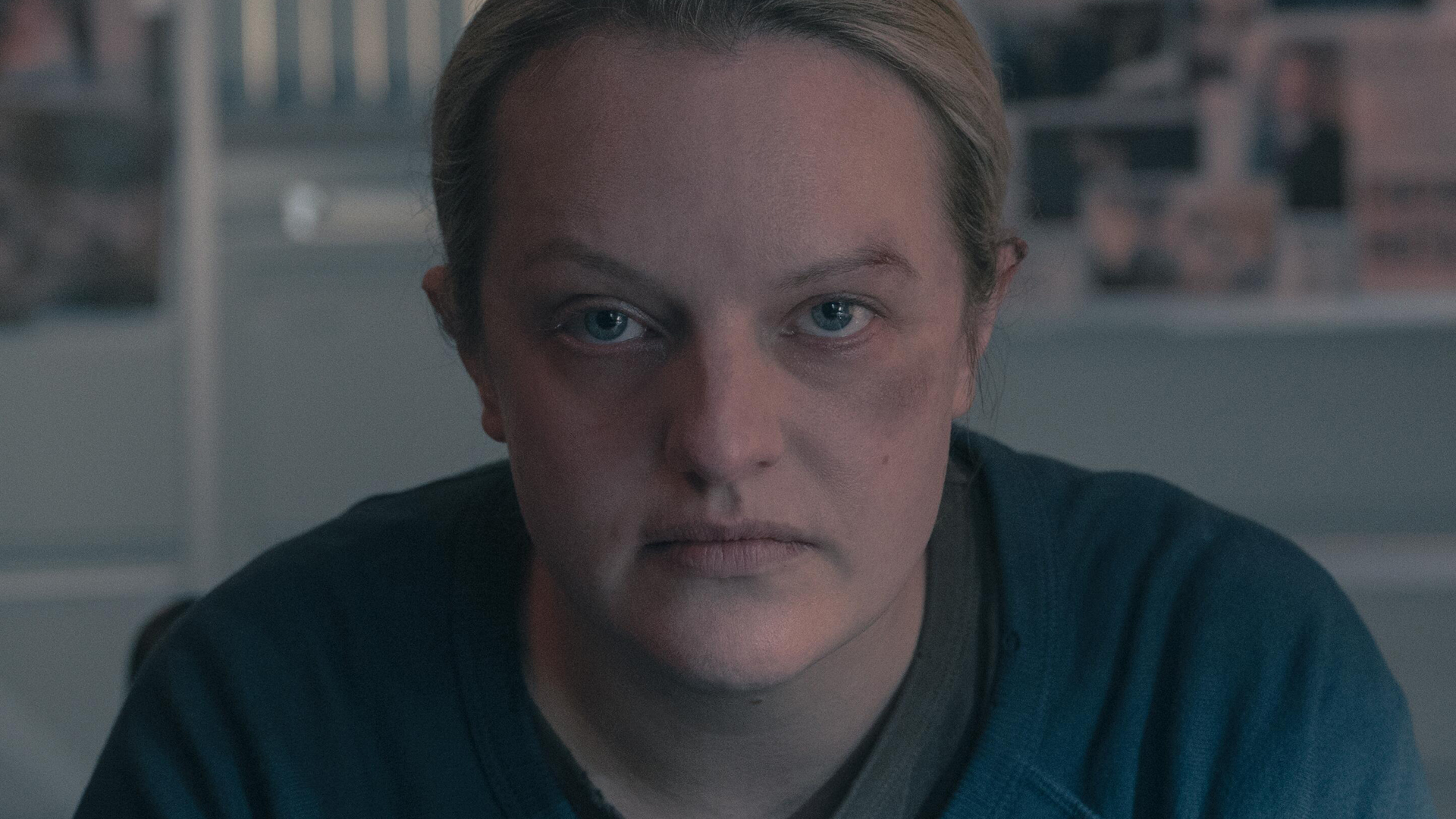 Close-up of Elisabeth Moss as June in 'The Handmaid's Tale' Season 4 Episode 7, 'Home'