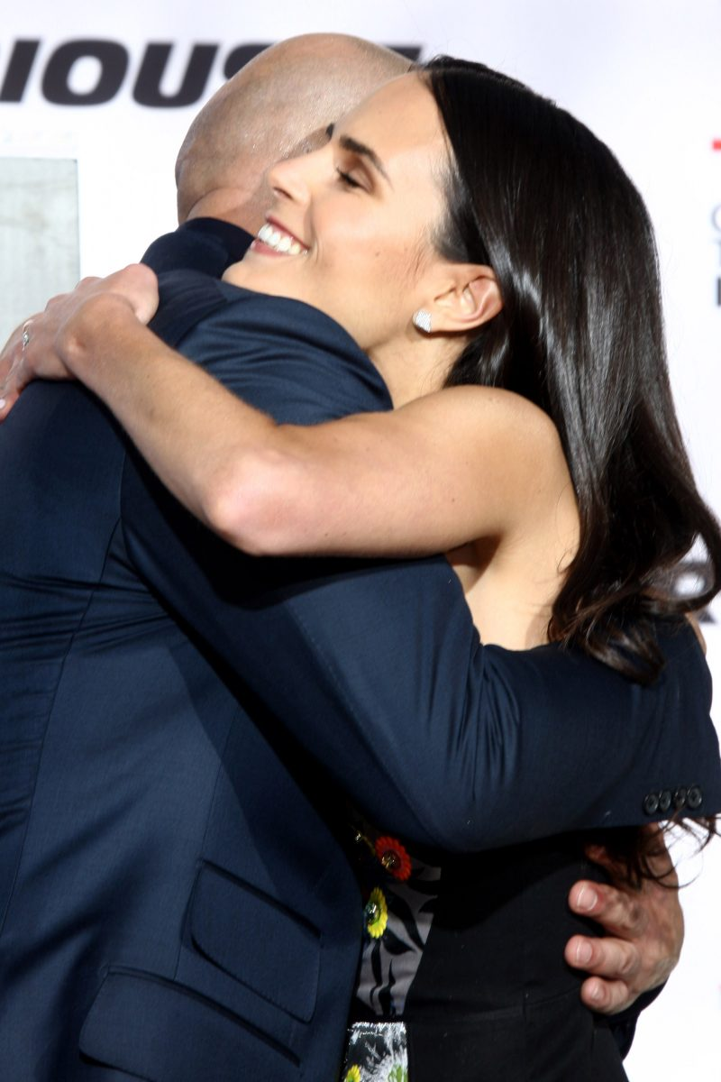 Fast and the Furious costars Vin Diesel and Jordana Brewster hug