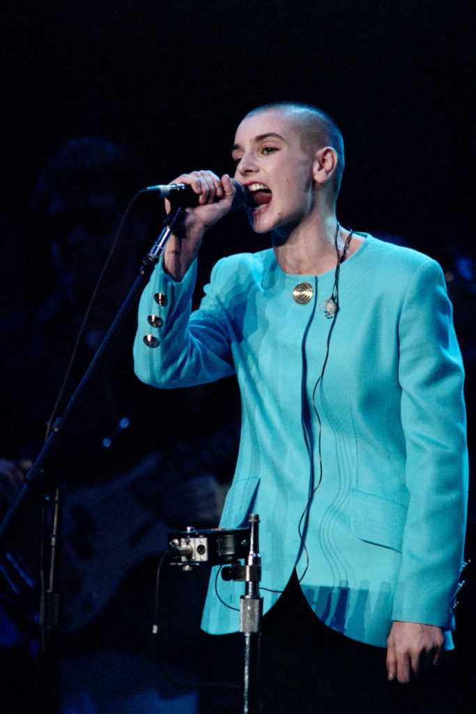 Irish singer Sinéad O'Connor performs at an all-star tribute for Bob Dylan in New York City's Madison Square Garden, 1992