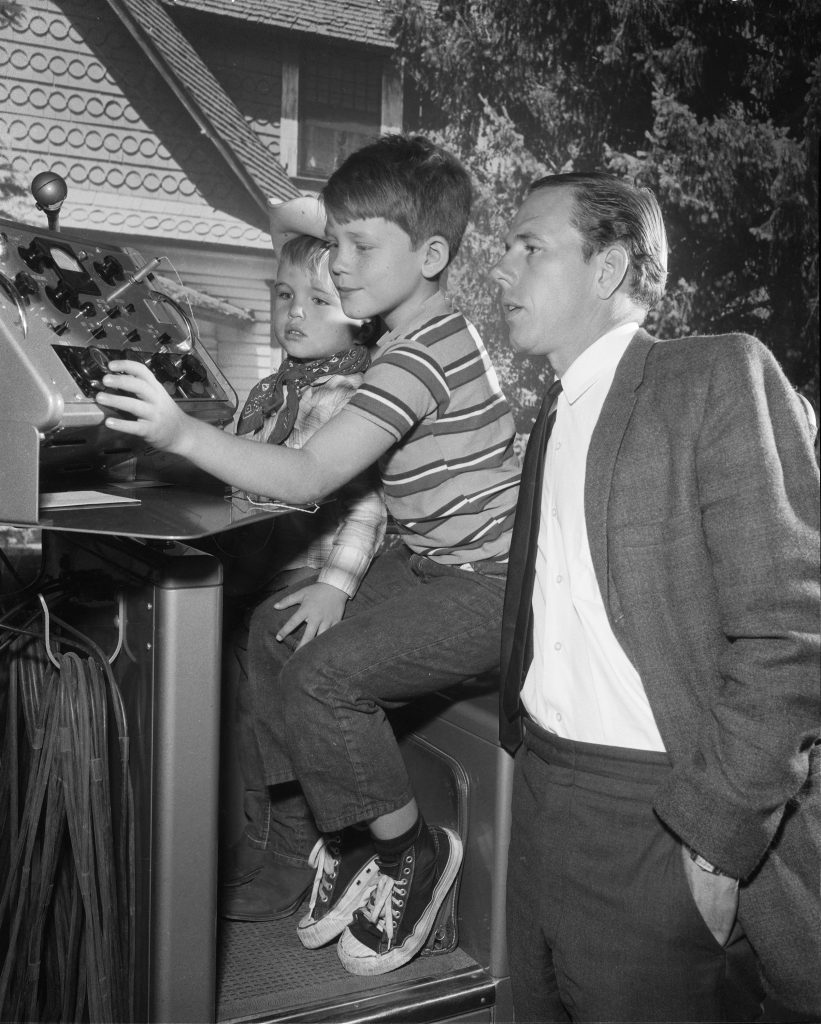 Actor Rance Howard, right, with his young sons (from left to right) Clint Howard and Ron Howard, on the set of 'The Andy Griffith Show' in 1963