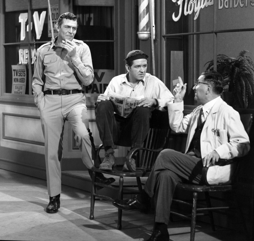 Actors Andy Griffith, George Lindsey, and Howard McNear in a scene from 'The Andy Griffith Show'