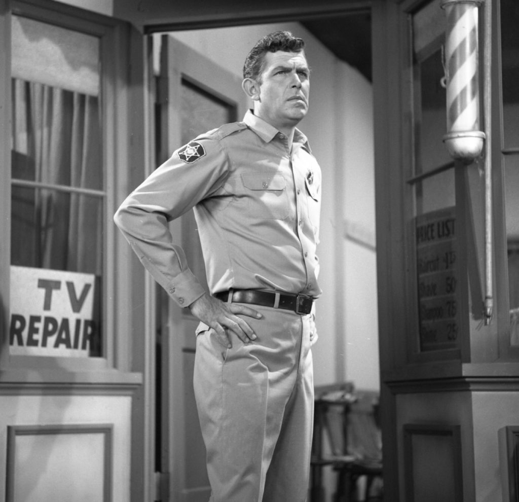 Andy Griffith as Sheriff Andy Taylor on 'The Andy Griffith Show'