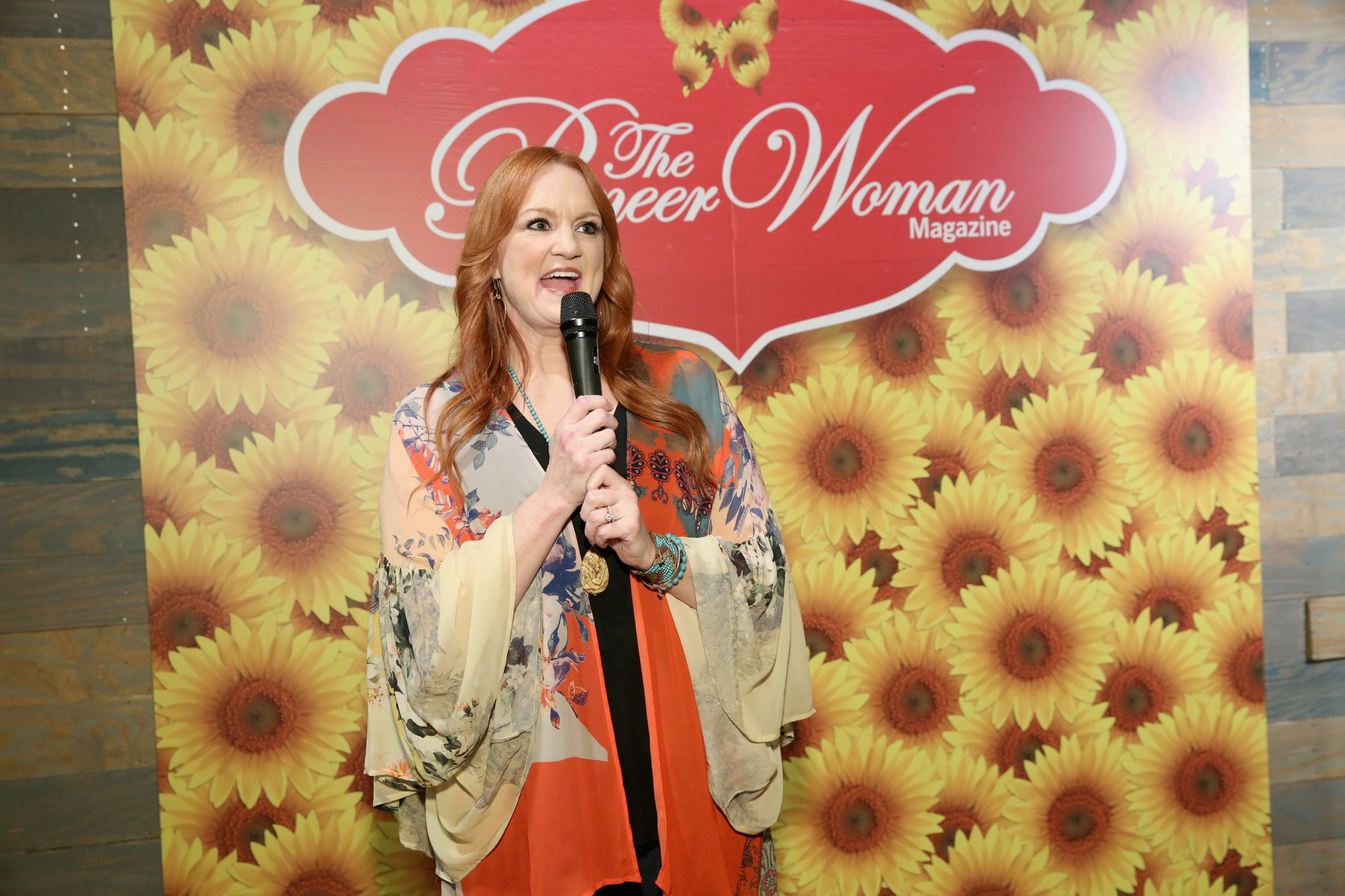 'The Pioneer Woman' Ree Drummond speaks into a microphone while addressing an audience in New York City in 2017.