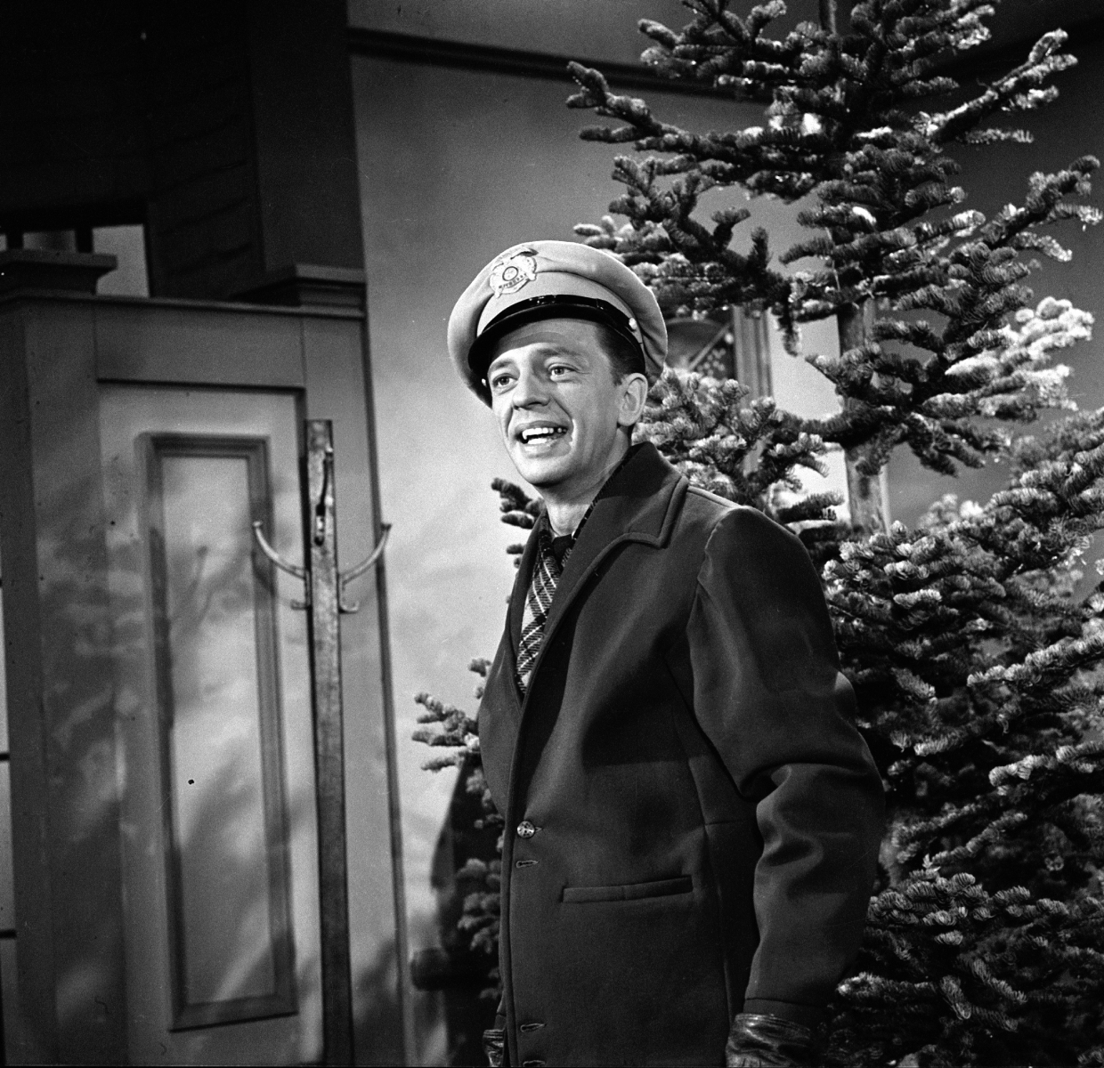 Actor Don Knotts is dressed in his Deputy Sheriff Barney Fife uniform on the set of 'The Andy Griffith Show.'