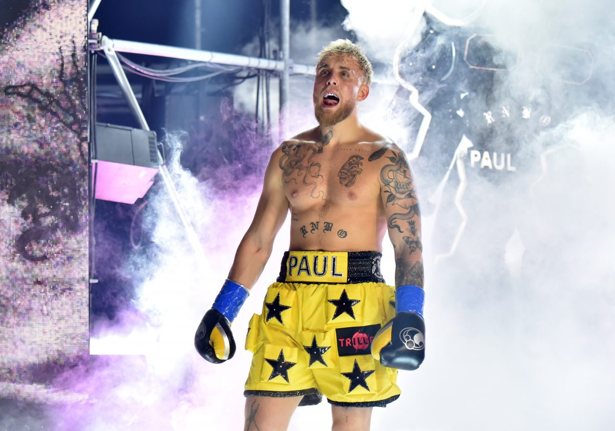 Jake Paul enters the ring against Ben Askren for their cruiserweight bout during Triller Fight Club