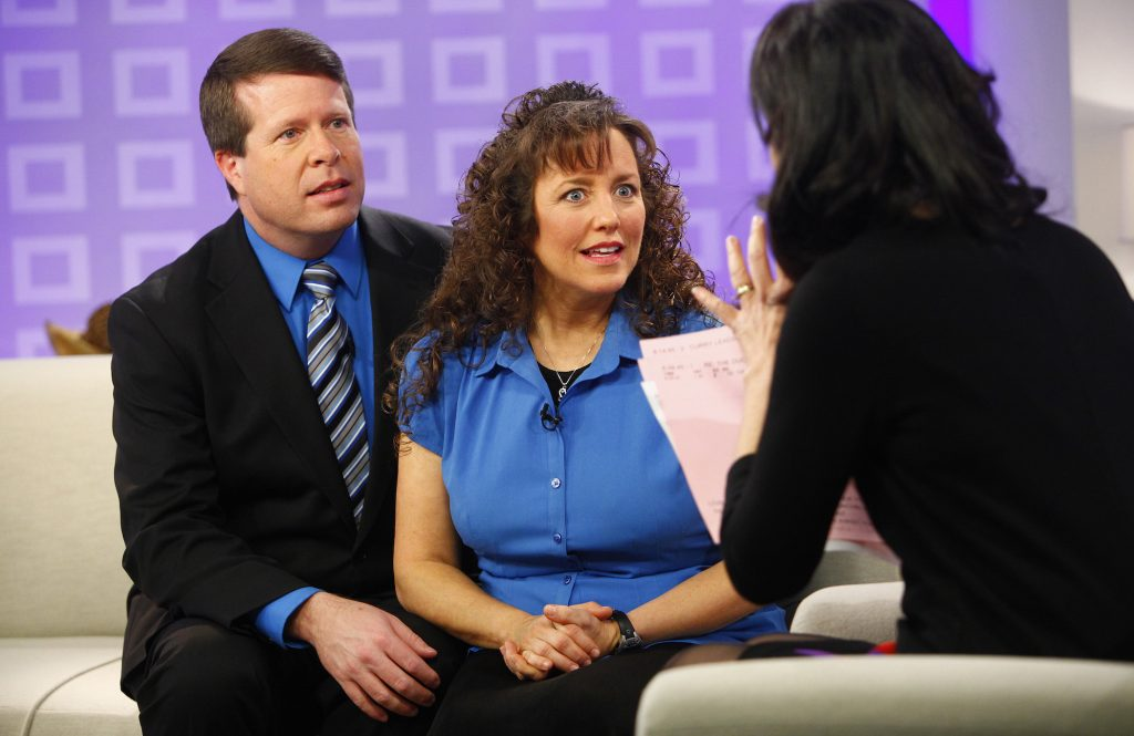 Jim Bob Duggar and Michelle Duggar of the Duggar family from TLC's 'Counting On' sitting next to each other on a couch on NBC News' 'Today' show