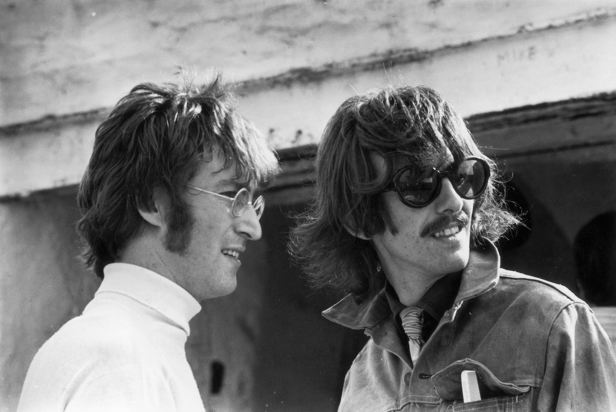 Beatles John Lennon and George Harrison during filming 'The Magical Mystery Tour'
