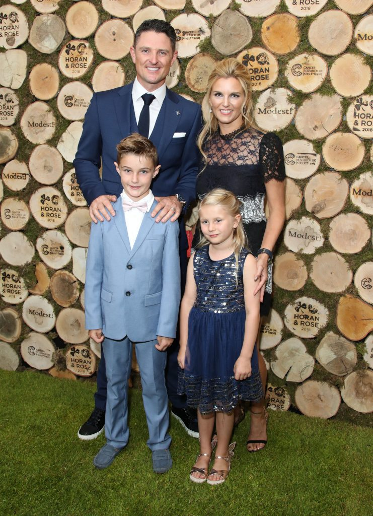 Justin Rose and Kate Phillips Rose attend the Horan And Rose Charity Event held at The Grove with their children