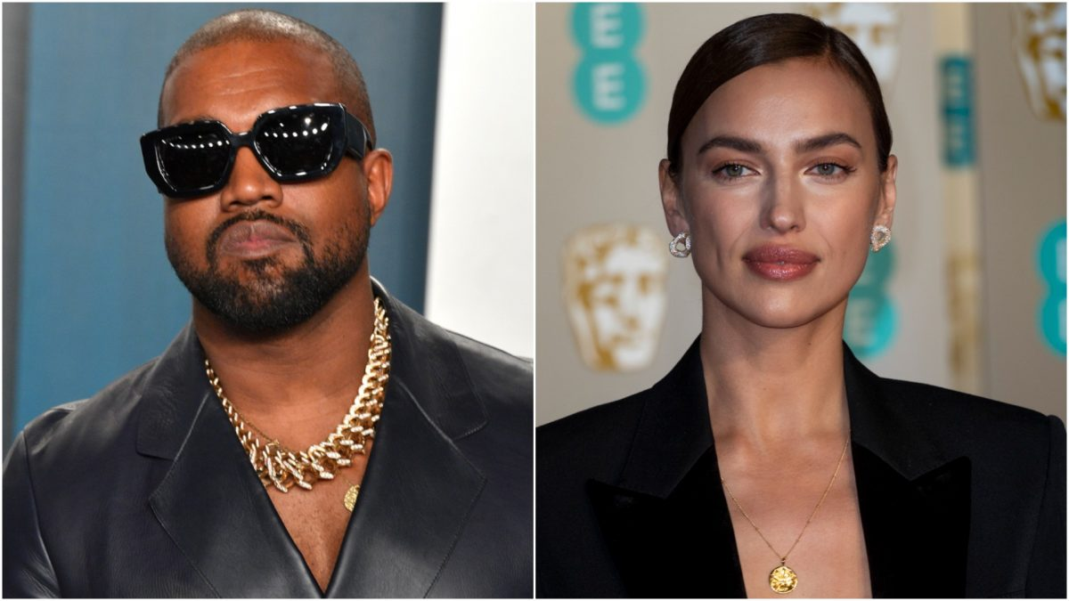 Photos of Kanye West and Irina Shayk side by side