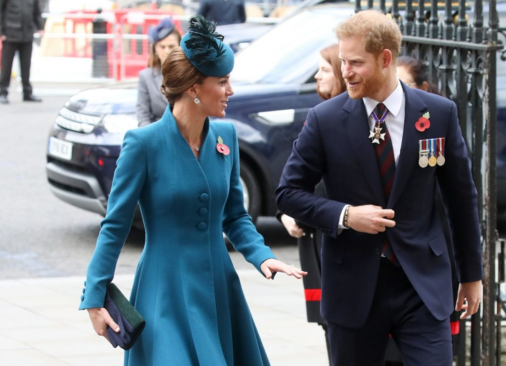 Kate Middleton and Prince Harry walking into church together for ANZAC Day Service