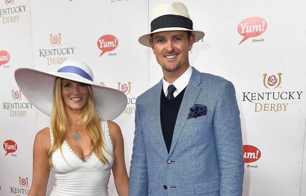 Kate Rose and Justin Rose pose for photo on red carpet at the 143rd Kentucky Derby at Churchill Downs