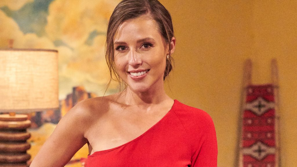 Behind-the-scenes photo of Katie Thurston ahead of a rose ceremony in 'The Bachelorette' Season 17 Week 5 on July 5, 2021.