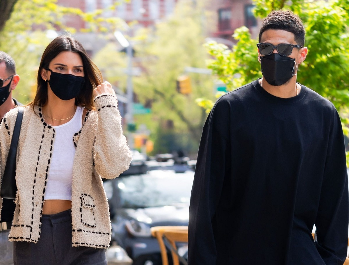 Kendall Jenner and Devin Booker walking together through SoHo in NYC