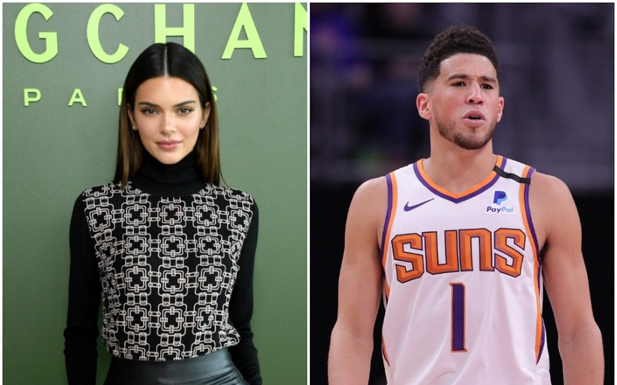 (L): Kendall poses for photo at event, (R): Devin Booker standing on the court during an NBA game