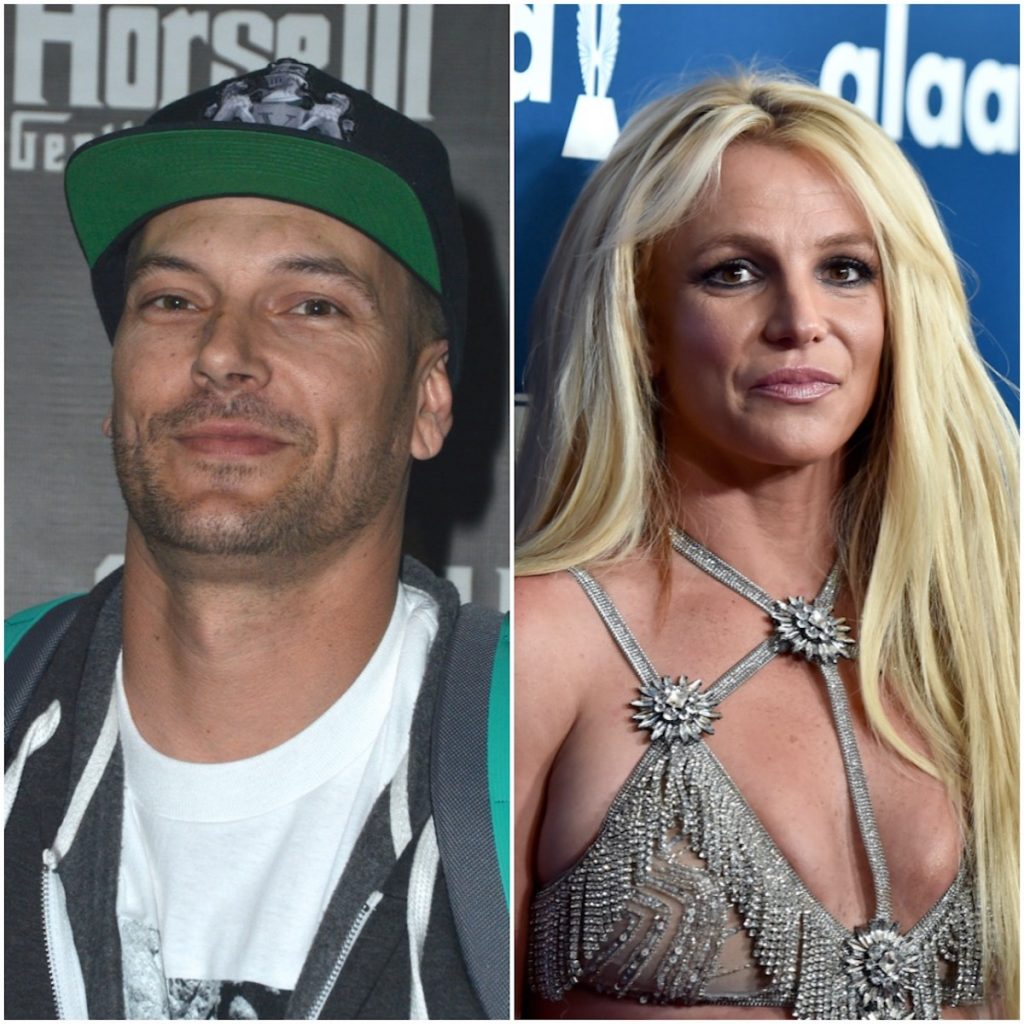 Kevin Federline and Britney Spears posing for photos at media events