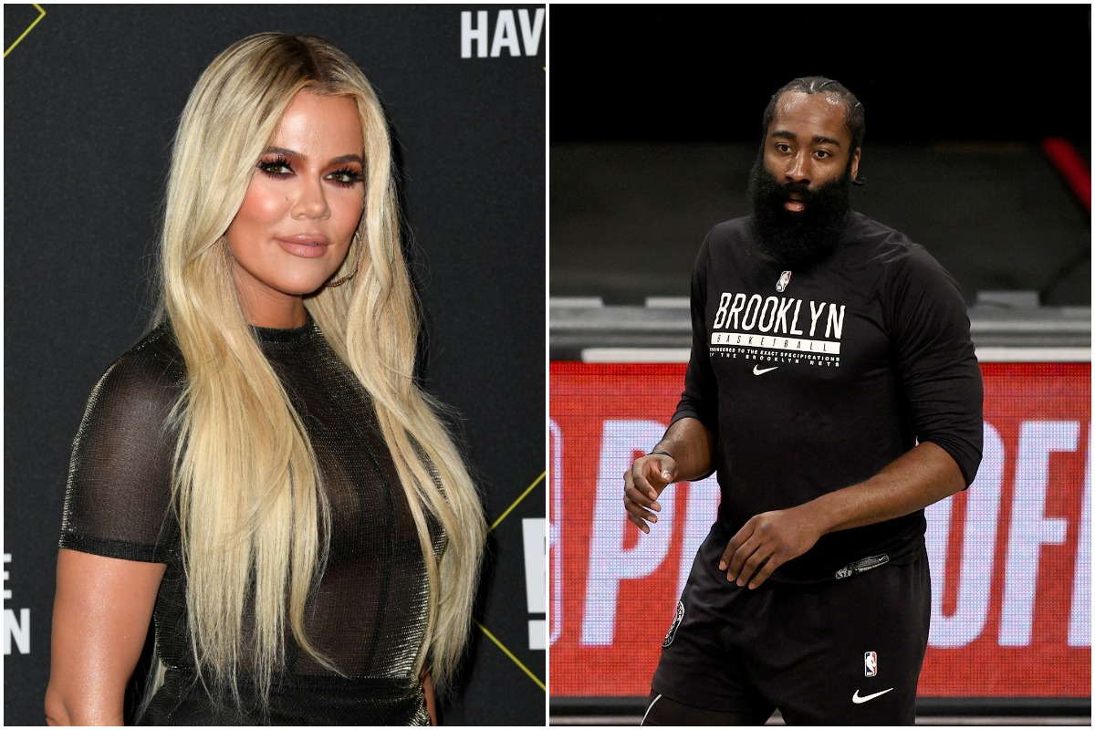 A side-by-side photo of Khloé Kardashian and James Harden