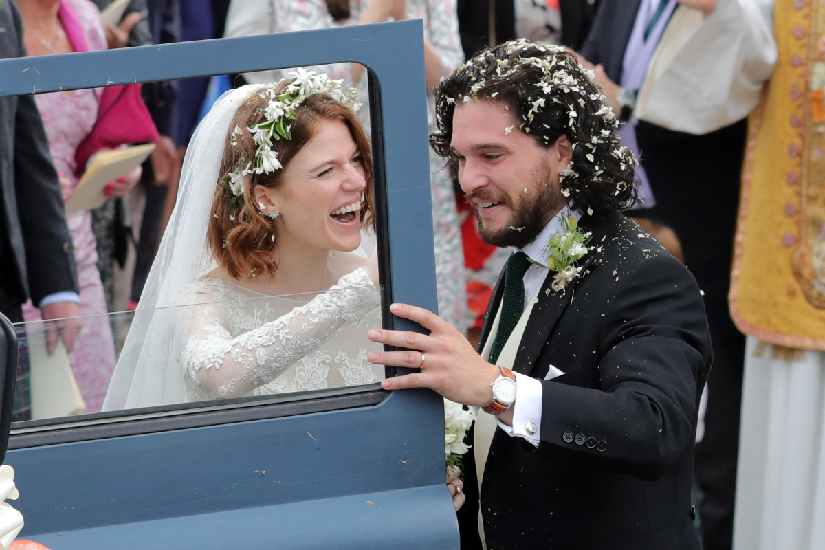 Kit Harrington and Rose Leslie departing Rayne Church in Kirkton on Rayne after their wedding on June 23, 2018 in Aberdeen, Scotland