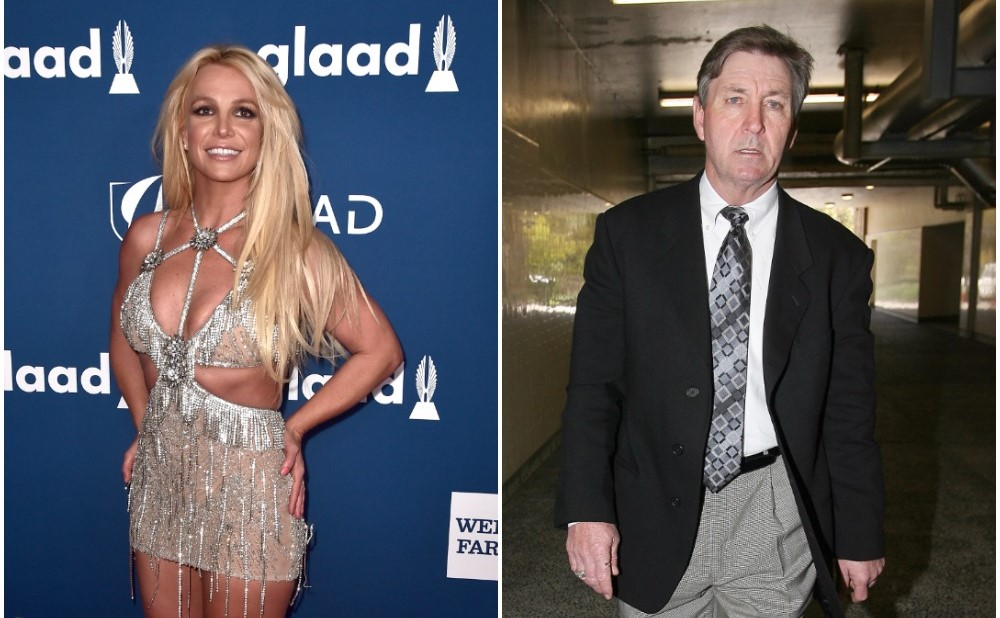 (L): Britney Spears smiling on the red carpet at the 29th Annual GLAAD Media Awards (R): Britney Spears' father, Jamie Spears, dressed in a suit and tie leaving court