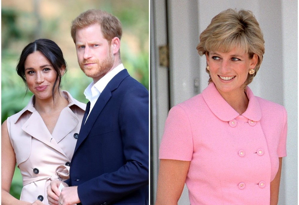 (L): Prince Harry and Meghan Markle standing next to each other during trip to South Africa, (R): Princess Diana smiling with here hands behind her back and dressed in a pink outfit