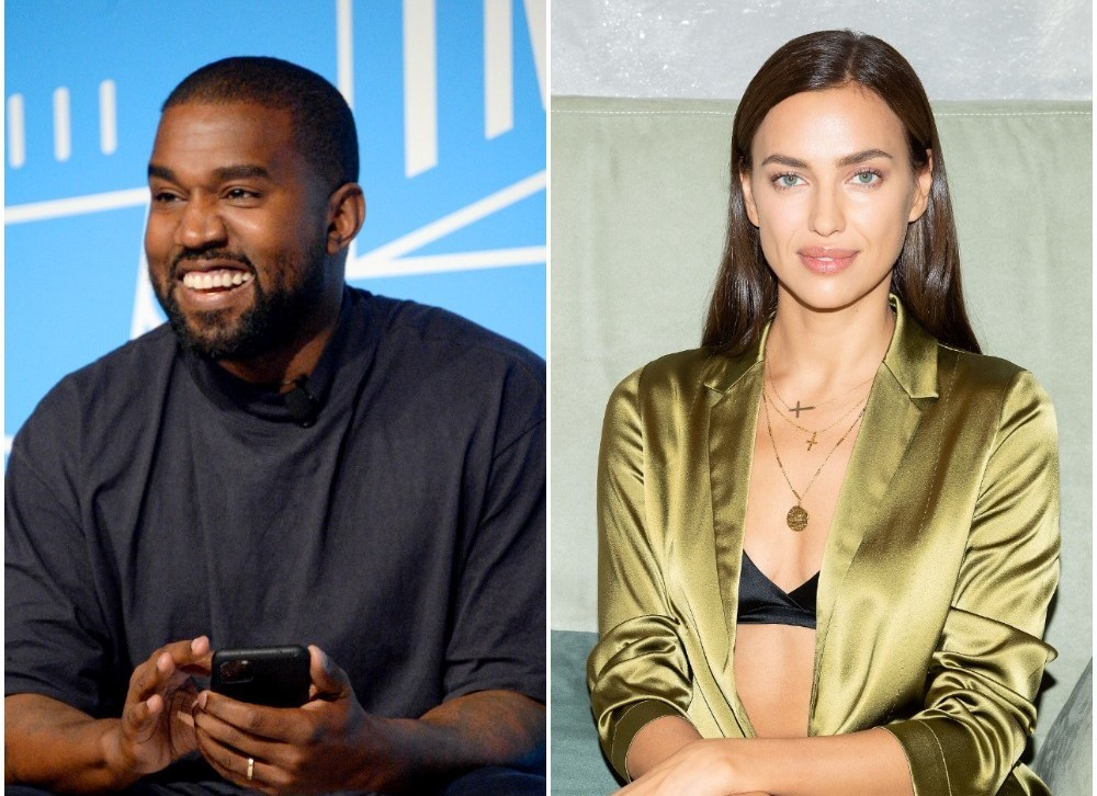 (L): Kanye West smiling and laughing onstage at an event in NYC. (R): Irina Shayk sitting down on a couch at Falconeri Press Day during Milan Fashion Week