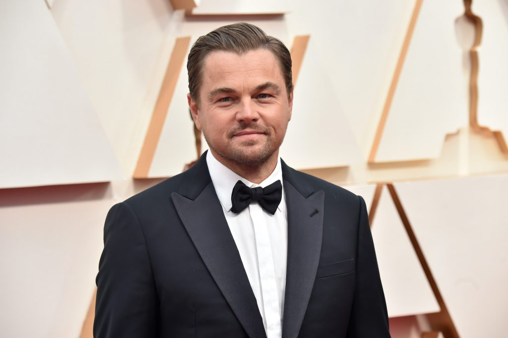 Leonardo DiCaprio smiling in front of a white background