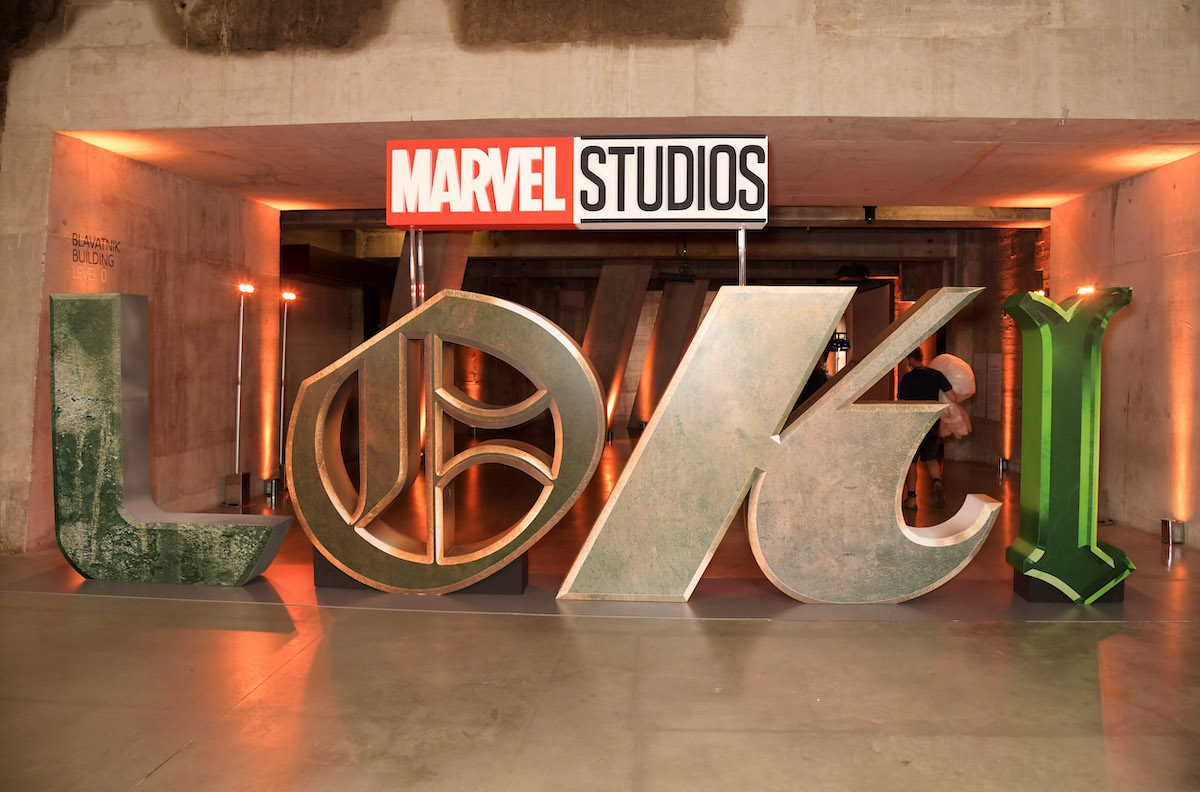 The 'Loki' logo display at a special preview screening of the Marvel Studios series