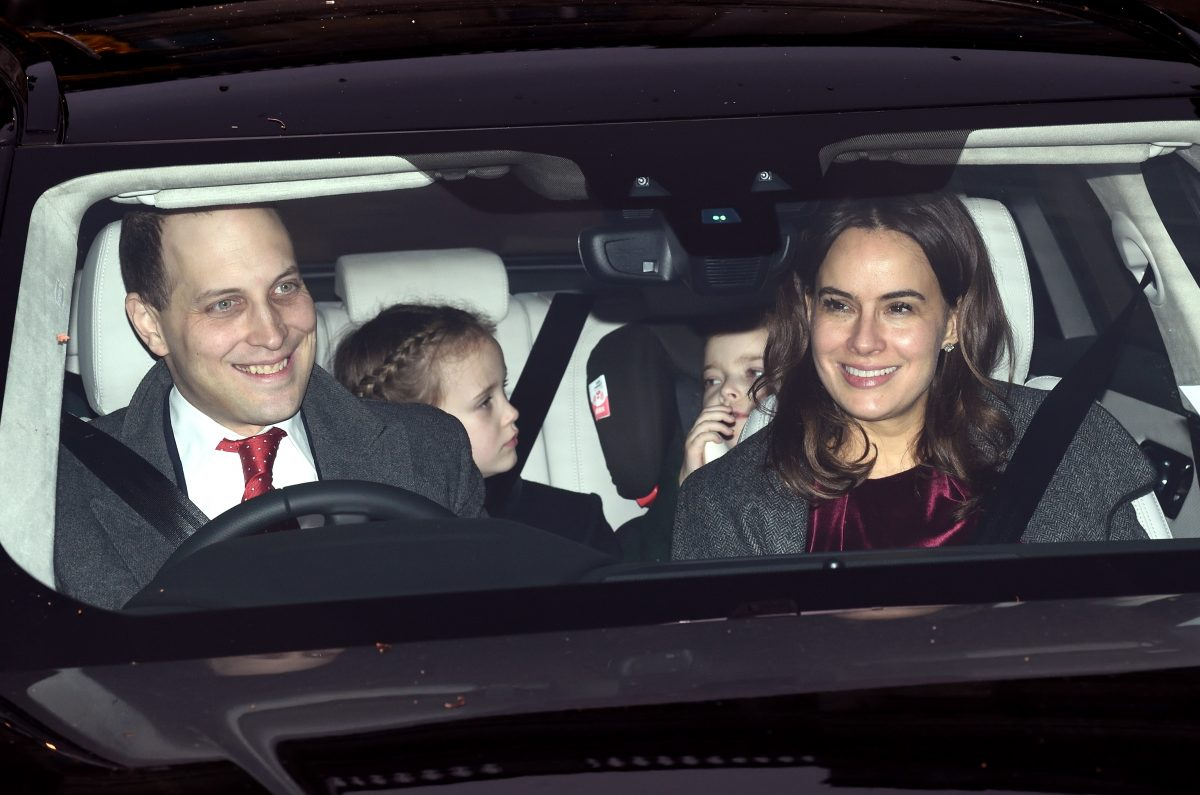 Lord Frederick Windsor with daughters Maud Windsor, Isabella Windsor and wife Sophie driving in a car