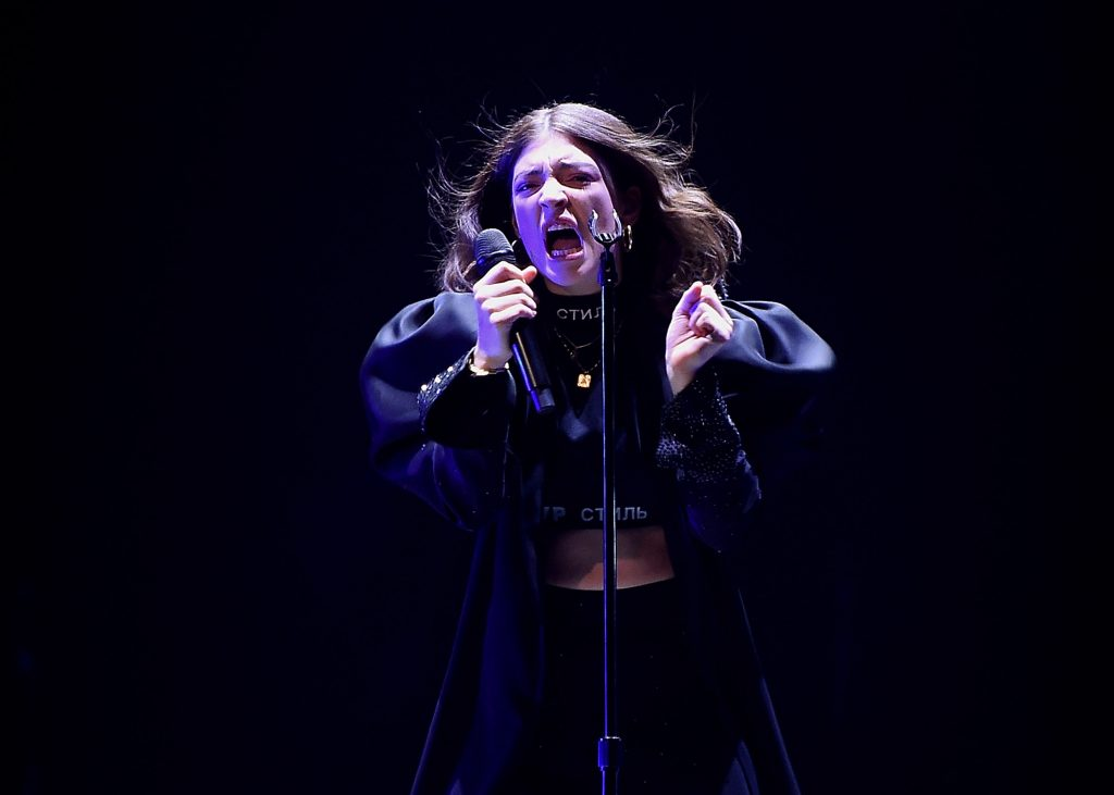 Solar Power singer Lorde performs in concert wearing all black
