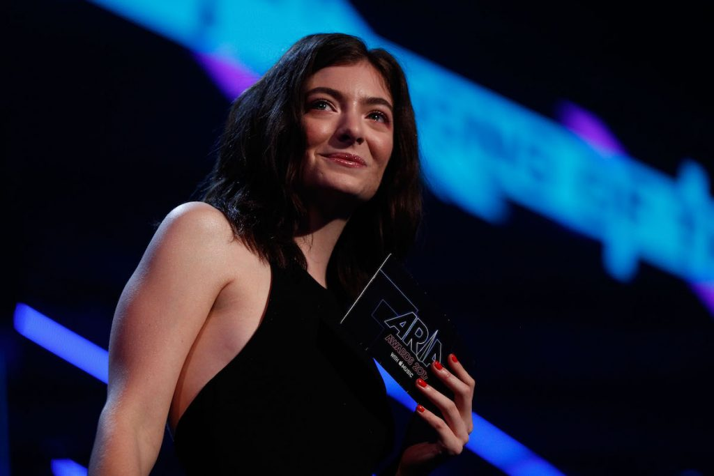 Lorde at the 2017 ARIAs in Sydney, Australia on stage