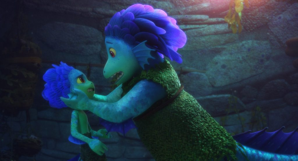 Pixar's Luca: Luca's mother holds him by the head