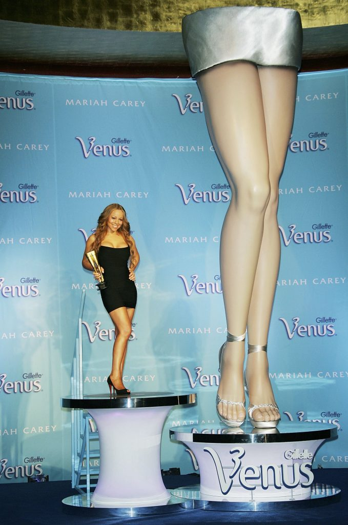 Mariah Carey at a press conference to kick off the annual Gillette Venus Legs of a Goddess contest