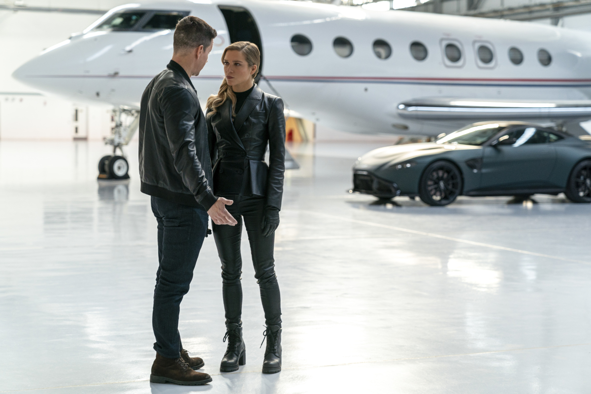 Mark Wahlberg and Sophie Cookson discuss past lives in an airplane hangar