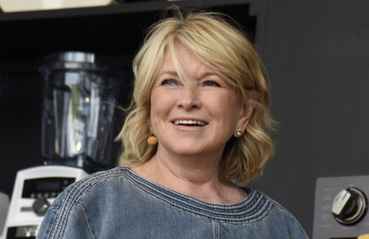 A close-up of Martha Stewart as she shares her recipes at a cooking demonstration