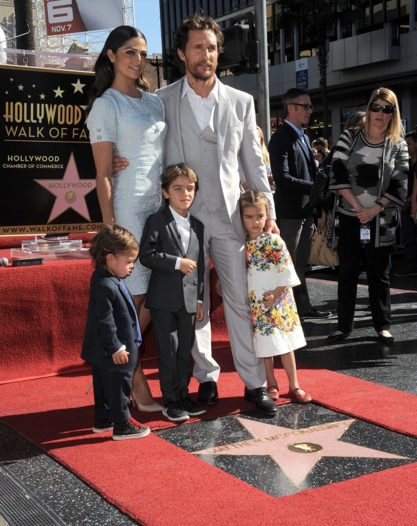 Matthew McConaughey with Camila Alves and kids at Hollywood Walk of Fame