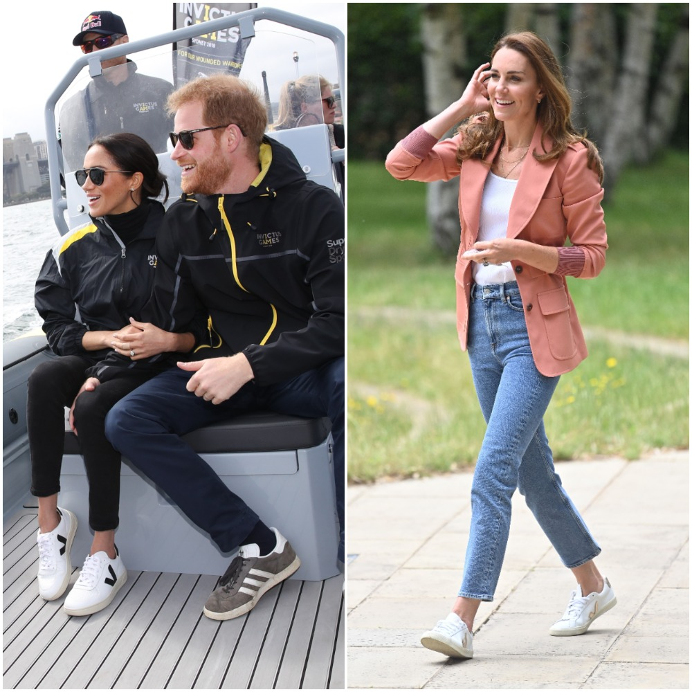 Meghan Markle and Kate Middleton wearing Veja sneakers on separate occasions
