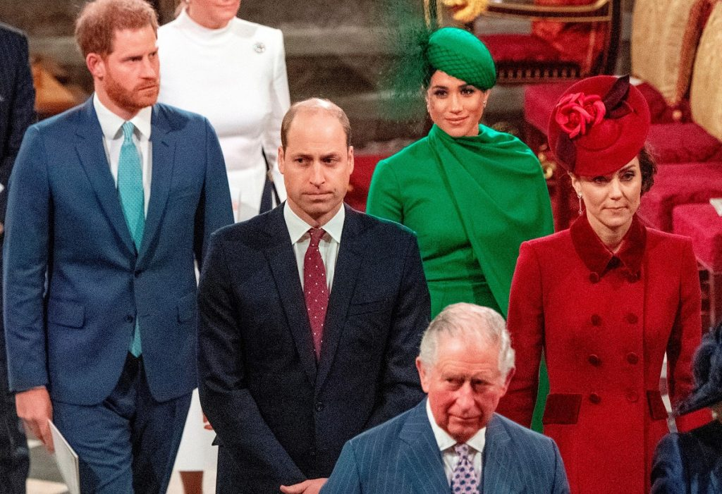 Members of the British royal family Westminster Abbey attending a Commonwealth Service in London