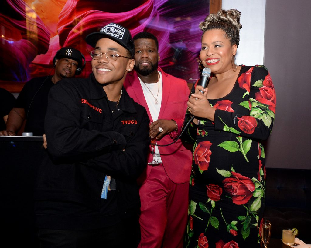 """Michael Rainey Jr., Curtis """"50 Cent"""" Jackson, and Courtney A. Kemp attend the Power Series Finale Episode Screening"""
