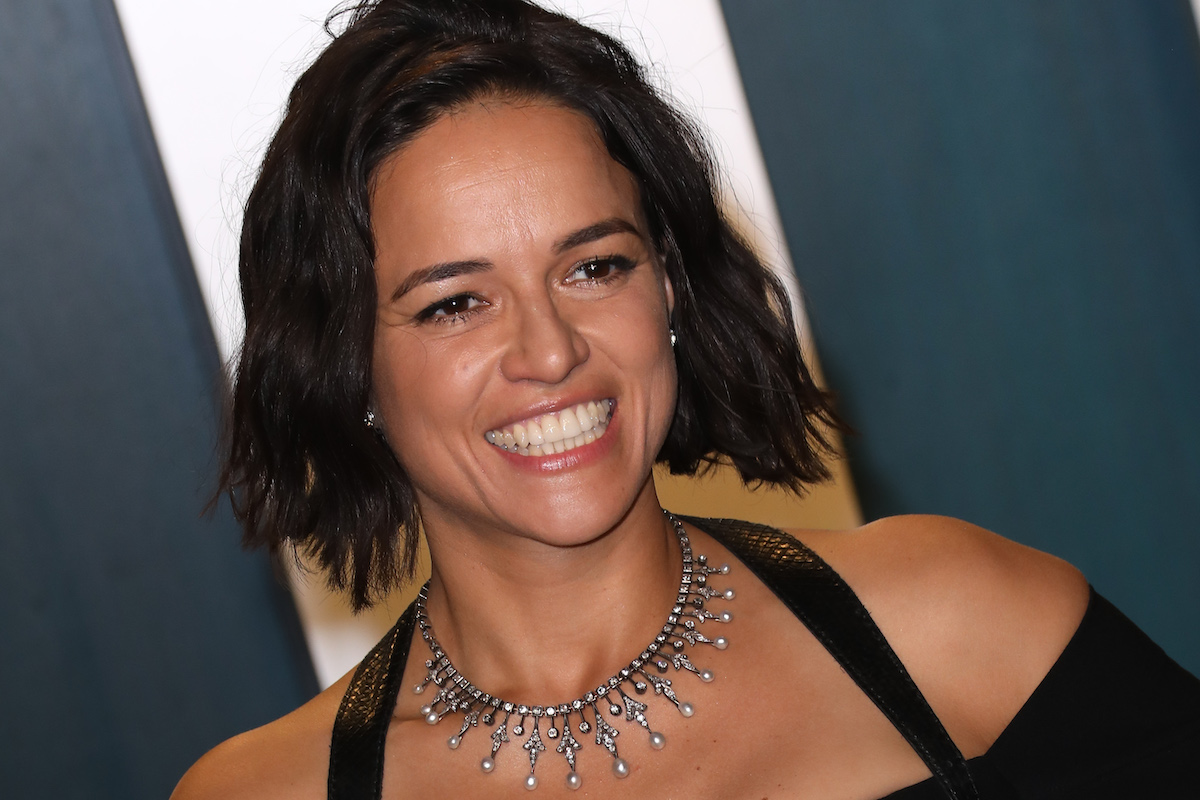 Michelle Rodriguez wears a black outfit and a necklace at the 2020 Vanity Fair Oscar Party