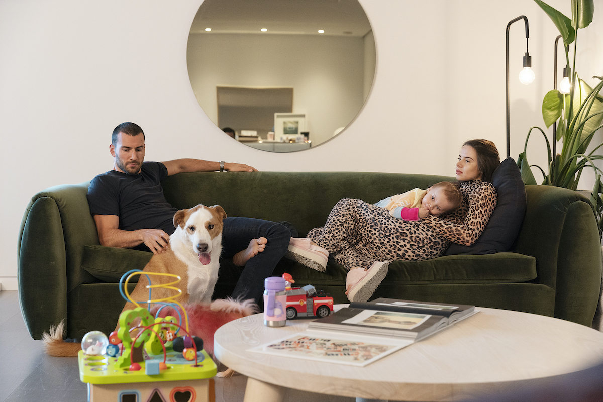 Steve Gold, Luiza Gawlowska and daughter Rose at home on Million Dollar Listing New York
